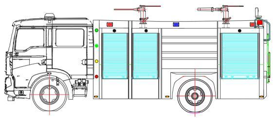 JDF5190GXFGP70/Z型干粉泡沫联用消防车总体布置