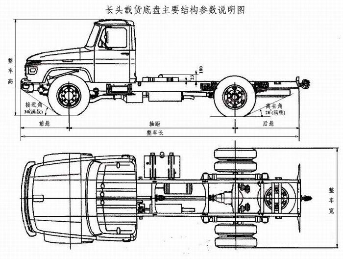 东风140尖头载货专用汽车底盘结构示意图