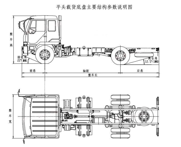 东风平头载货专用汽车底盘结构示意图-清障车|平板