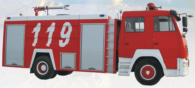 斯太尔单桥水罐、泡沫消防车图